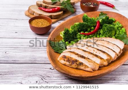 鶏 ストリップ トースト 焼いた パン 木製 ストックフォト © Digifoodstock