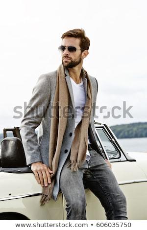 Férfi dől sportautó utazás napszemüveg profil Stock fotó © IS2
