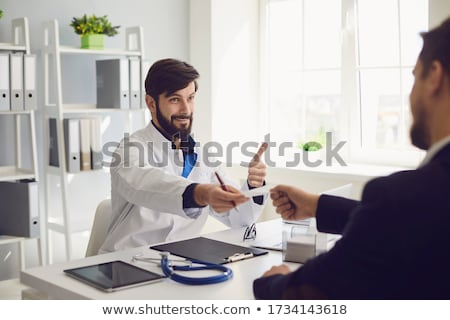 Doktor reçete hasta klinik kadın mutlu Stok fotoğraf © wavebreak_media
