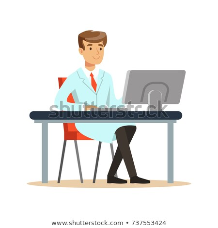 Professor Or Scientist Cartoon Character Behind Desk With A Big Idea Stock photo © hittoon