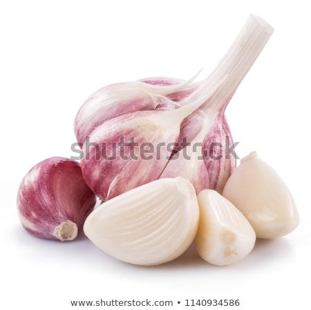 Villanykörte gerezd fokhagyma friss fehér étel Stock fotó © Digifoodstock