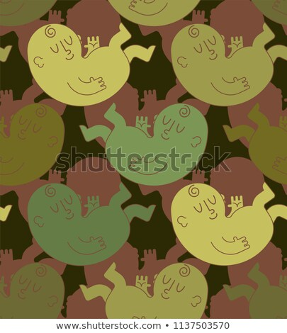 Newborn baby military pattern seamless. Child Khaki soldiery tex Stock photo © popaukropa