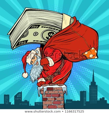 Kerstman geld schoorsteen pop art retro vintage Stockfoto © studiostoks