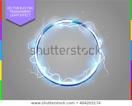 futuristic abstract metal ring blue background chrome shine round frame with light circle and sun stock photo © iaroslava