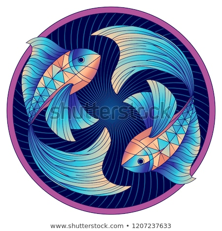 blue fish or pisces icon vector illustration stock photo © cidepix