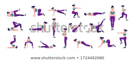 Strong young fitness woman stretching exercises. Stock photo © deandrobot