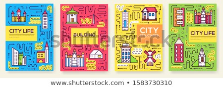 Set of outline different cities for travel destinations. landmarks culture banner template of flyer, Stock photo © Linetale