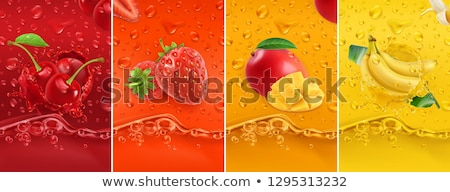 fresh organic fruits background with ripe cherries in a droplets of water close up view stock photo © artjazz