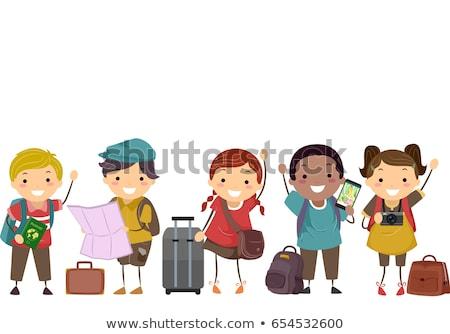 çocuklar bagaj örnek harita çanta kamera Stok fotoğraf © lenm