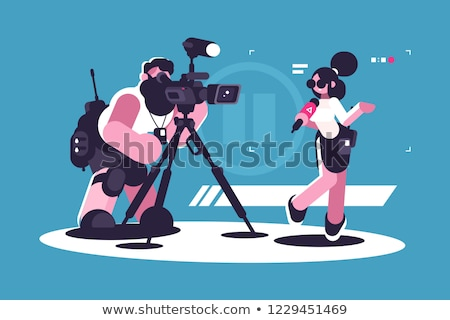 Journalist and cameraman doing report together Stock photo © jossdiim