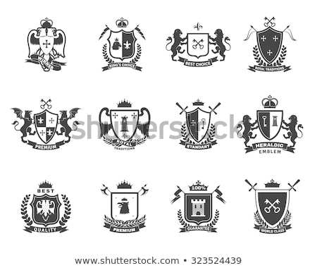 Crest Lion Shield Coat of Arms Heraldic Emblem Stock photo © Krisdog