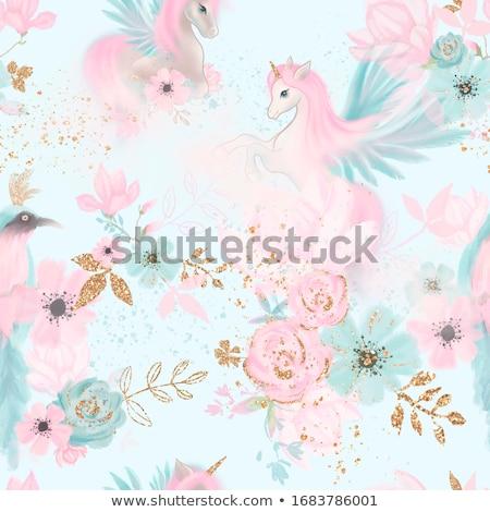 Kék végtelen minta kéz rajz rózsaszín lány Stock fotó © TasiPas