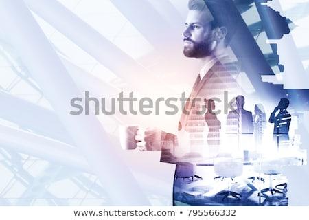 Boldog kreatív férfi iszik kávé éjszaka Stock fotó © dolgachov