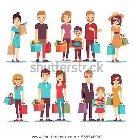 family shopping   flat design style colorful illustration stock photo © decorwithme