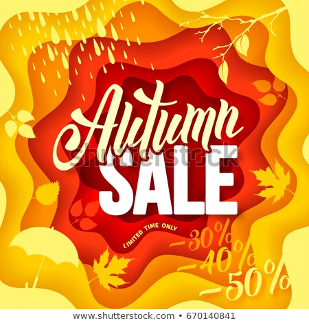 Discount and Big Sale Emblem with Autumn Leaves Stock photo © robuart