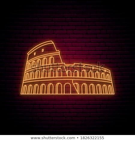 Parede coliseu ver Roma nascer do sol céu Foto stock © Givaga