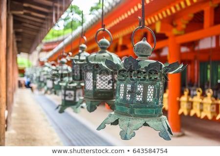 Szentély lámpások Japán sorok park épület Stock fotó © daboost