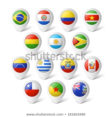 Venezuela map located on a world map with flag and map pointer or pin. Infographic map. Vector illus stock photo © kyryloff