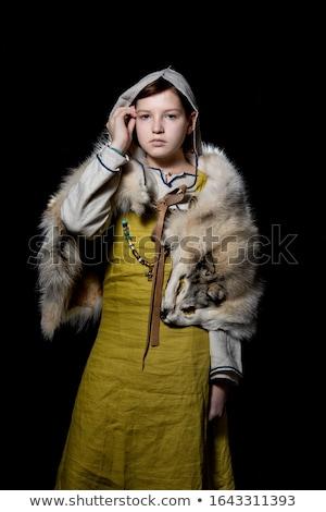 Vrouwelijke viking illustratie vrouw justitie macht Stockfoto © colematt