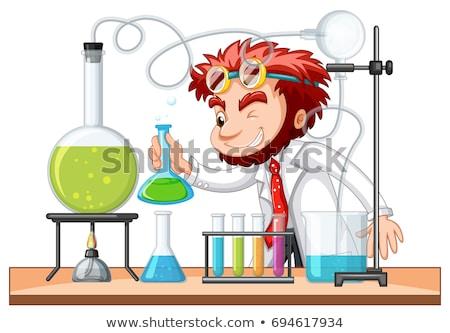 Mad naukowiec chemicznych laboratorium ilustracja tle Zdjęcia stock © colematt