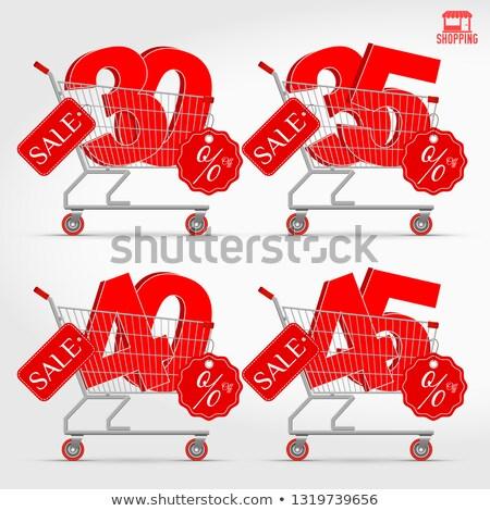 Stock fotó: Acél · bevásárlókosár · 30 · százalék · felirat · 3D