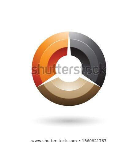 Orange and Black Glossy Shaded Circle Vector Illustration Stock photo © cidepix