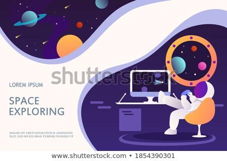 Astronaut · Planeten · Pflanzen · Flagge · fern · Set - stock foto © colematt
