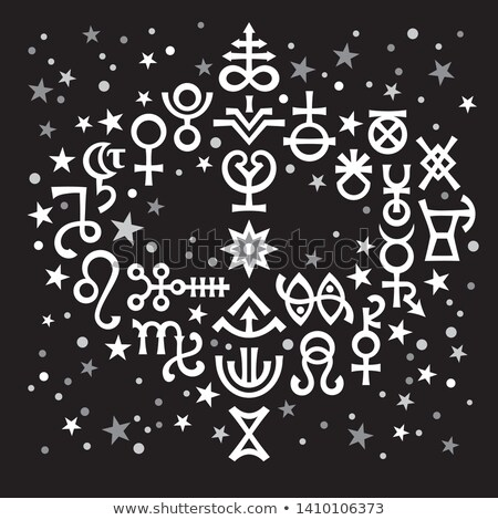 Foto d'archivio: Astrological Bouquet Astrological Signs And Occult Mystical Symbols Black And White Celestial Pat
