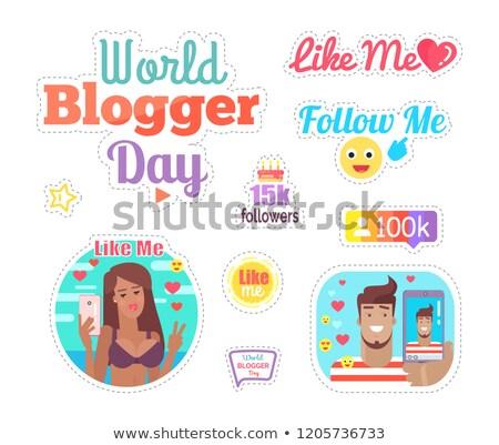 Мир блоггер день мне кнопки набор Сток-фото © robuart