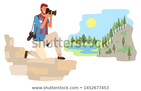 Tourist Standing on One Knee and Making Shoots Stock photo © robuart