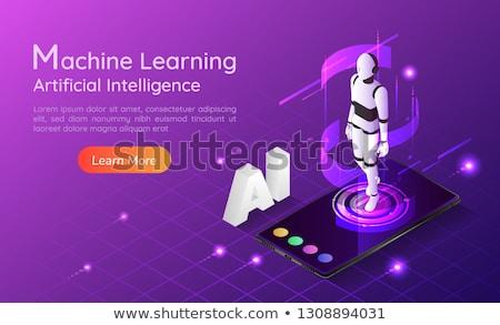 mesterséges · intelligencia · minimális · infografika · szalag · vektor · háló - stock fotó © pikepicture