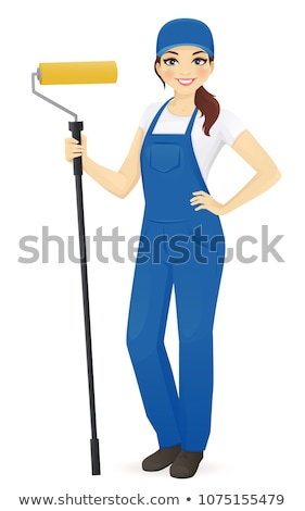 Cartoon peintre fille femme permanent peint Photo stock © Voysla