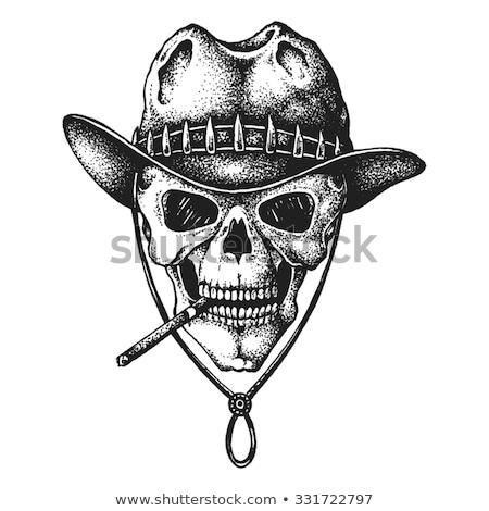Sketch, skull with hunter hat Stock photo © netkov1