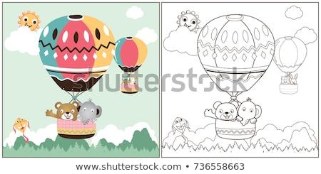 Macska kiscica rajzfilmfigura kifestőkönyv oldal feketefehér Stock fotó © izakowski