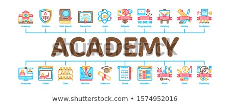 Academy Educational Minimal Infographic Banner Vector Stock photo © pikepicture