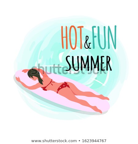 Hot and Fun Summer Emblem, Woman Swimming on Board Stock photo © robuart