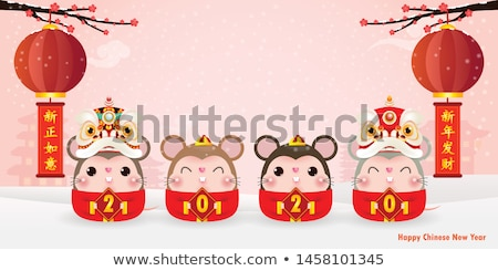 Chinese new year rat card of funny cute lion dance Stock photo © cienpies