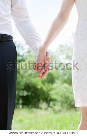 Nuevos células sociedad recién casado Pareja las mujeres jóvenes Foto stock © ElenaBatkova
