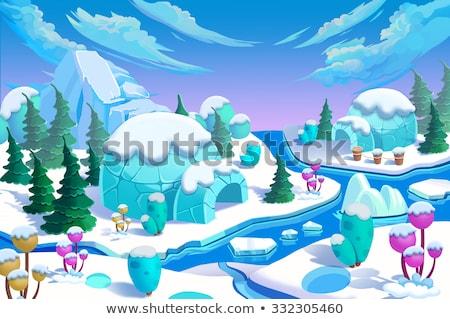eskimo with igloo cartoon illustration Stock photo © izakowski