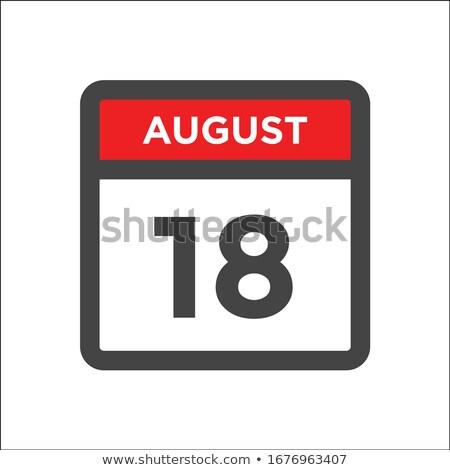 Eenvoudige zwarte kalender icon 18 augustus Stockfoto © evgeny89