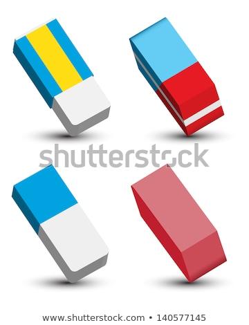 Vektor szett radír iroda papír toll Stock fotó © olllikeballoon