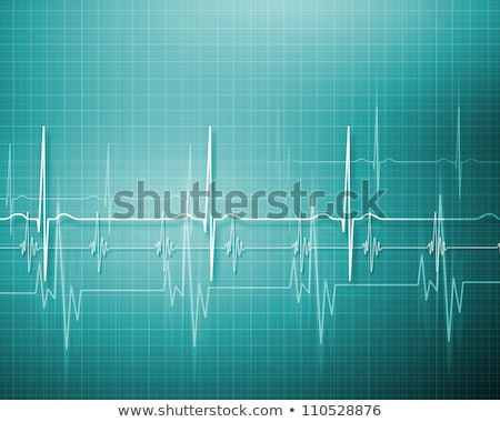 Stock photo: Red Heart With Cardiograph Line Medical Background