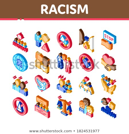 Rasszizmus diszkrimináció izometrikus ikon szett vektor stop Stock fotó © pikepicture