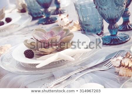 table setting in purple Stock photo © Hofmeester