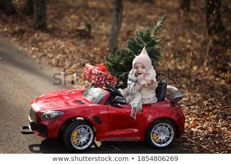 enfants · fille · conduite · jouet · voiture · aire · de · jeux - photo stock © lunamarina