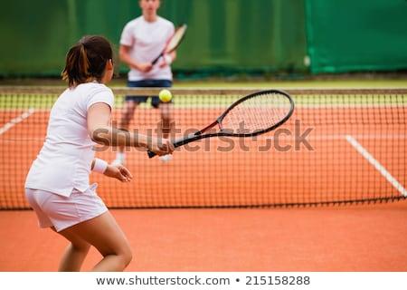 Tenisz portré kettő sportos lányok játékosok Stock fotó © zastavkin