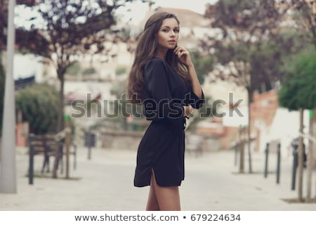 stylish brunette in dress stock photo © zastavkin