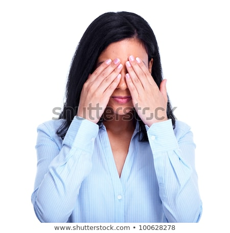 Young shy woman hiding your face. Stock photo © Kurhan