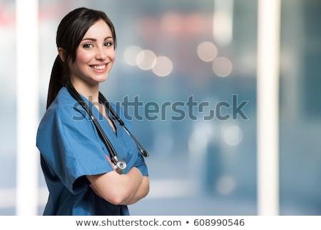 медсестры · улыбаясь · больницу · коридор · ходьбе - Сток-фото © nobilior