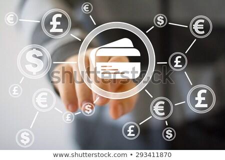 Kéz kisajtolás Euro gomb érintőképernyő technológia Stock fotó © fantazista